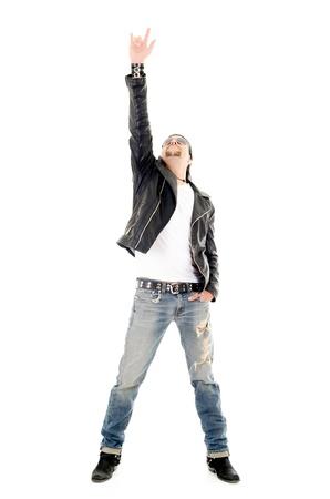 headbang: heavy metal star making a rock and roll gesture