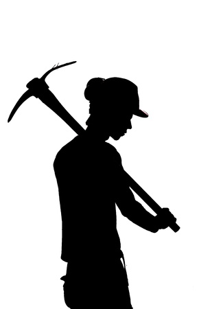 silhouette of a Mine worker with a pick photo