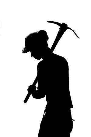 silhouette of a Mine worker with helmet photo