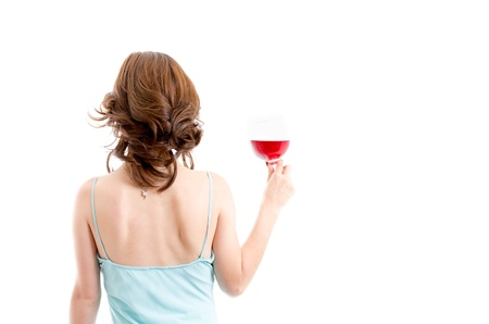Beautiful brunette girl drinking red wine isolated photo