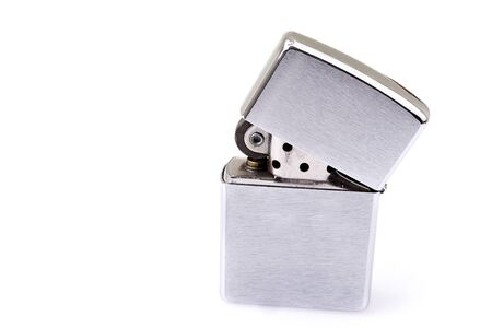 Silver metal  lighter isolated on white Stock Photo - 19082779