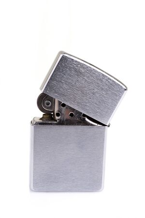 Silver metal  lighter isolated on white Stock Photo - 19082781