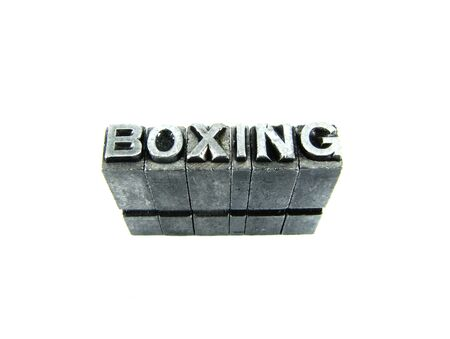 lithograph: boxing sign, antique metal letter type isolated