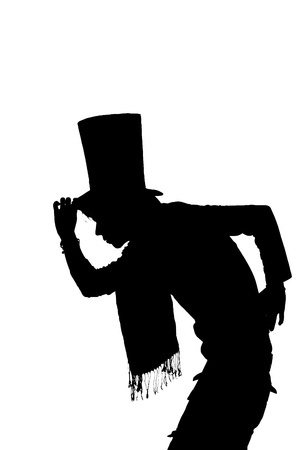silhouette of a Handsome man with hat saluting photo
