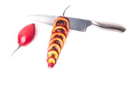 tamarillo: Fresh tamarillo fruits on white background  Stock Photo