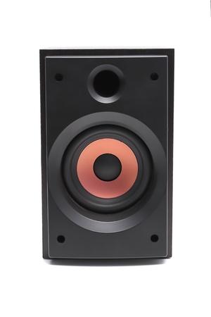 Black sound speaker on white background  photo