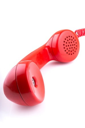 Rotary telephone handset with white background photo