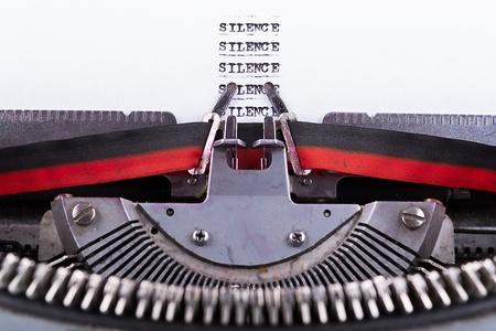 free the brain:  Silence written on an old typewriter