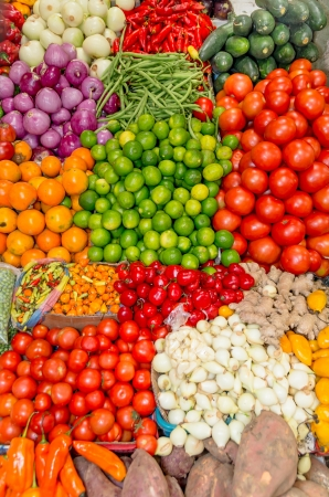 Fresh and organic vegetables at farmers market Stock Photo