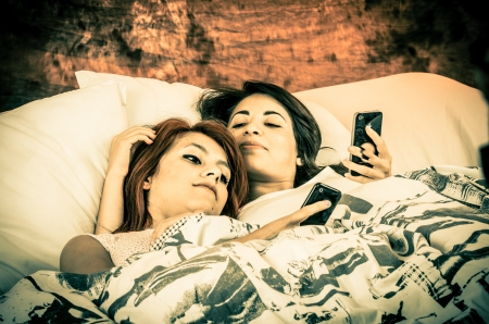 Romantic lesbian couple color toned photo