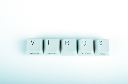 undetermined: virus word written with computer buttons