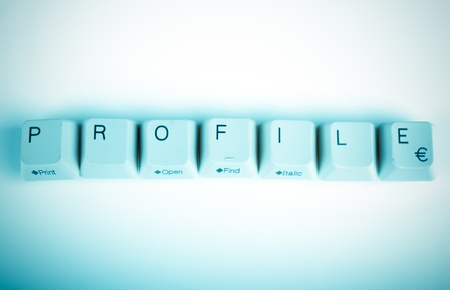 undetermined: profile word written with computer buttons Stock Photo