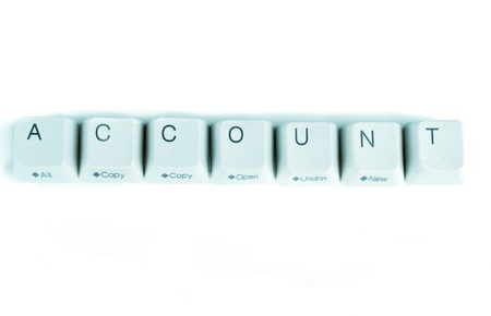Account word written with computer buttons photo