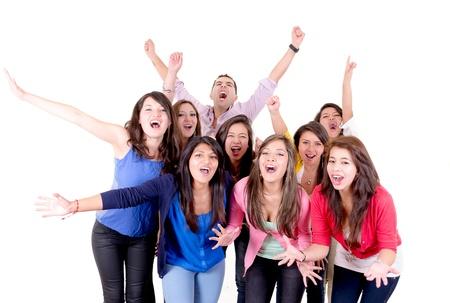 grupo de personas: Grupo del Partido de la gente feliz aislado en fondo blanco