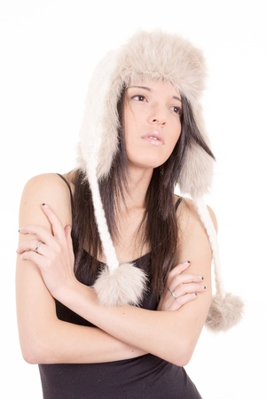 young woman wearing winter cap, fashion shot photo