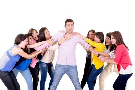 Eight Girls fighting over a guy photo