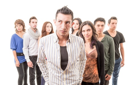 Group of worried people serious Stock Photo