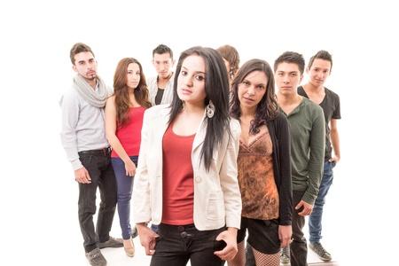 Group of worried people serious Фото со стока