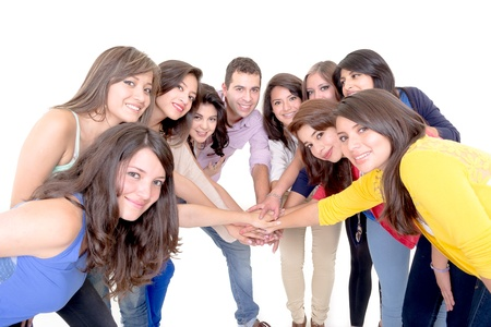 Group of happy people, joining hands  Isolated on white background