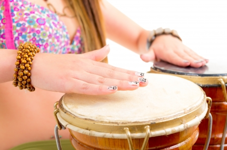 Young woman Playing the drum