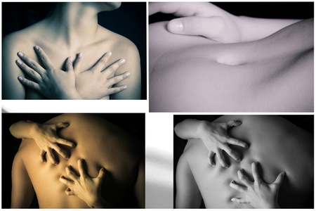 body parts: Black and white collage of body parts