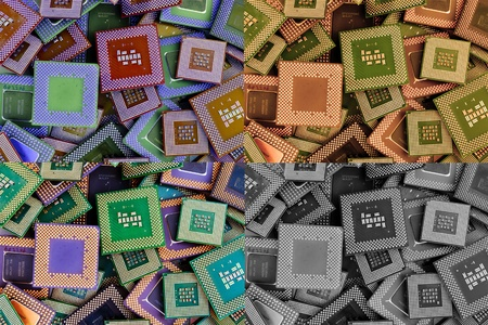processors: collage of different processors Stock Photo