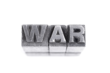 War sign,  antique metal letter-press type isolated Stock Photo - 21123714