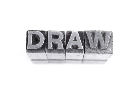 Draw sign,  antique metal letter-press type isolated Stock Photo - 21123751