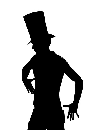 hi hat: silhouette of a Handsome man with hat saluting