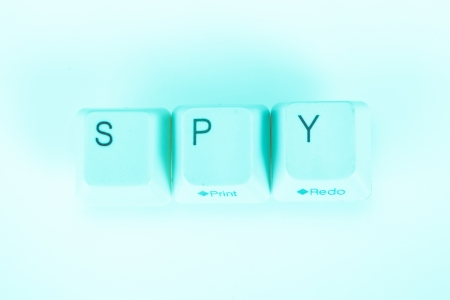 undetermined: Spy word written with computer buttons Stock Photo
