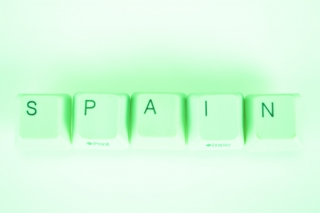 Spain word written with computer buttons photo