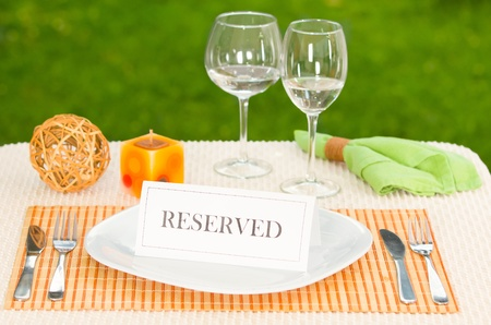 reserved sign: Reserved sign in dinner plate