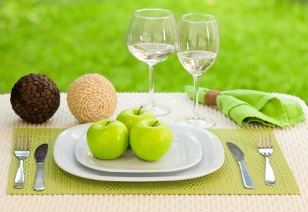 Diet concept.  a plate served with apples photo