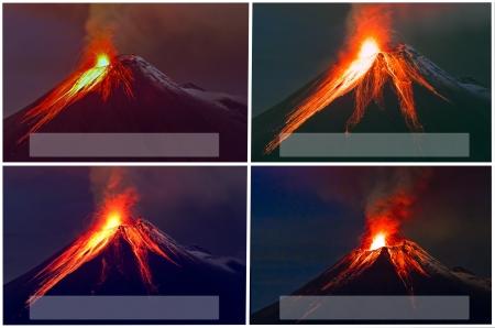 Tungurahua Volcano eruption collage  photo