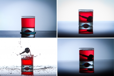 intoxicated: Alcoholic Drink with Car Keys concept drinking and driving