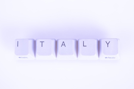 undetermined: Italy word written with computer buttons Stock Photo