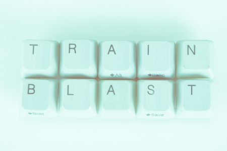 undetermined: Train Blast word written with computer buttons Stock Photo