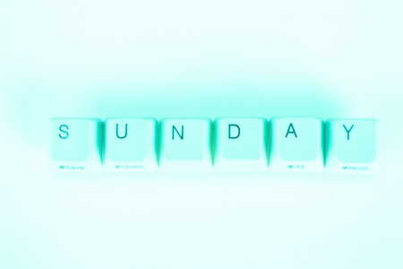 undetermined: Sunday word written with computer buttons Stock Photo