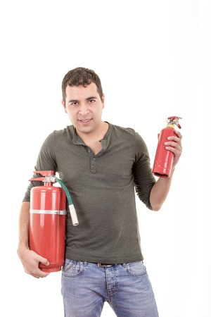 Business man holding fire extinguisher  with empty space for your text photo