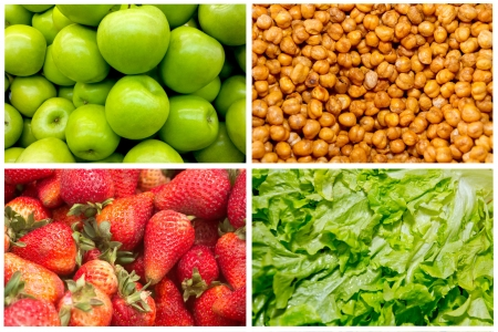 Food colage series  Collage of fresh fruit and vegetables photo