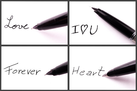 pen writing a love frases on paper Stock Photo - 25737187