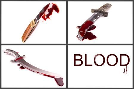 A knife smeared with blood set photo