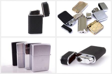 Silver metal lighter set photo