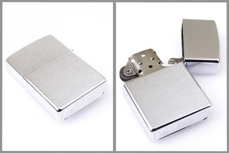 Silver metal lighter set