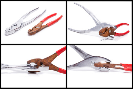Pliers set rusty vs new isolated on a white background photo