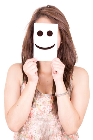 Pretty Young Woman with Smiley Emoticon photo