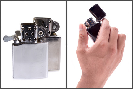 Silver metal lighter set photo