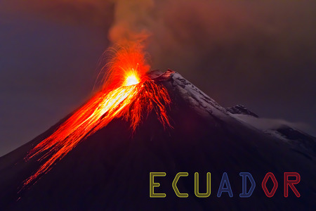 Tungurahua volcano with banner of Ecuador photo