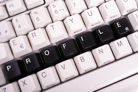 Word Profile written with black keys on computer keyboard. photo