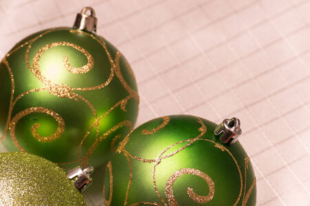Green Christmas-tree decorations. Selective focus. photo